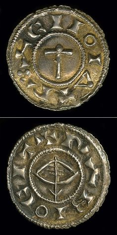 A Viking penny with an image of Thor's hammer on the reverse, and a drawn bow and arrow (or possibly a ship) on the front. Cast out of silver. Made in 920 at the mint of Regnald, the Viking king at York. Currently held at the British Museum.