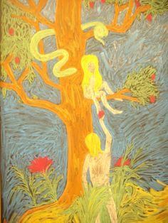 Waldorf ~ grade ~ Old Testament Stories ~ Fruit of Knowledge ~ chalkboard drawing Blackboard Drawing, Blackboard Chalk, Chalkboard Drawings, Chalk Drawings, Painting & Drawing, Watercolor Paintings, Third Grade, Grade 3, Days Of Creation