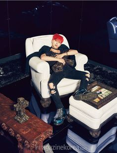 2015.07, Harper's Bazaar, BIGBANG, G-Dragon, I love this picture of G-Daddy! All that's missing is the remote control in his hand and the football game on! I love pictures of REAL MEN relaxing like this! SO HOT! I LOVE LAZY GUYS! Smiley D:) No lawn mowing every weekend with this gal!