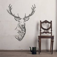Stag head vinyl wall sticker in 2019 hirsch стена дизайн, ро Vinyl Wall Stickers, Wall Decals, Wall Mural, Contemporary Wall Stickers, Geometric Deer, Stag Head, Animal Heads, Wall Art Designs, Antlers