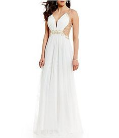 Glamour by Terani Couture V-Neck Beaded Illusion Back Long Dress