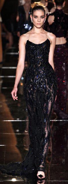 Versace Sequin Black Gown F/W 2013