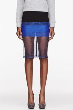 Dion Lee Black Colorblocked Bonded Crepe & Mesh Scaffold Skirt for women | SSENSE