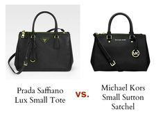 Bag Review Michael Kors Sutton Satchel in Black Small versus Prada Saffiano Lux Small Tote