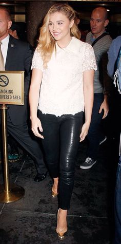Leather pants and floral top!
