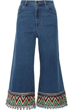 Alice Olivia - Beta Cropped Embroidered High-rise Wide-leg Jeans - Blue
