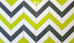 Modwalls Kiln Chevron ceramic tile sample design.  Available in gray, white, orange, etc. $46/sq ft.