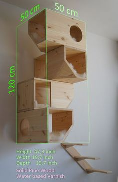 Cats driving you crazy because they've got nothing to do and nowhere to go? Give them a place that's just for them but that's also attractive enough to go with your modern decor with this DIY homemade wood cat tower. Woodworking Projects Diy, Diy Projects, Project Ideas, Cat House Diy, Wooden Cat House, Wood Cat, Cat Shelves, Cat Playground, Cat Room