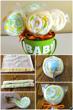 DIY Baby Washcloth Lollipops Gift Bucket-Handmade Baby Shower Gift Ideas Instructions
