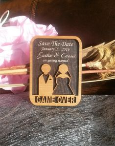 Wood SaveTheDate Magnets 50 / Engraved by AmazingWoodCraft on Etsy