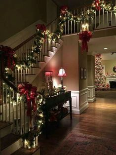 All through the house! Not a creature was striring, not even a mouse! Christmas decor for the main hall and stairs