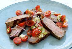 Rosemary Strip Steak, Tomato Salad
