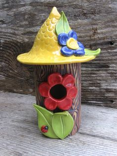 handbuilt  pottery birdhouses | Clay Bird Houses