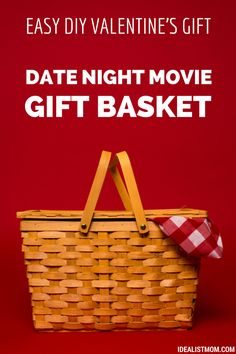 This DIY Valentine's Day gift is easy, cheap (it can even be free!), and it's WAY more romantic than dinner at a crowded restaurant. Just put together a Valentine's gift basket for a date night movie! Also makes a great anniversary gift.