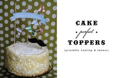 free printable: striped bunting and happy birthday cake banner