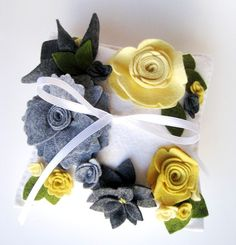 Wedding Ring Pillow Floral in Yellow Charcoal or Custom Colors Wool Felt Flowers