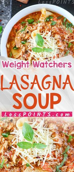 Lasagna Soup has everything you love about lasagna – all in one bowl of soup! Ww Recipes, Crockpot Recipes, Soup Recipes, Cooking Recipes, Chili Recipes, Recipies, Weight Watchers Lasagna, Weight Watchers Soup, Quick Healthy Meals