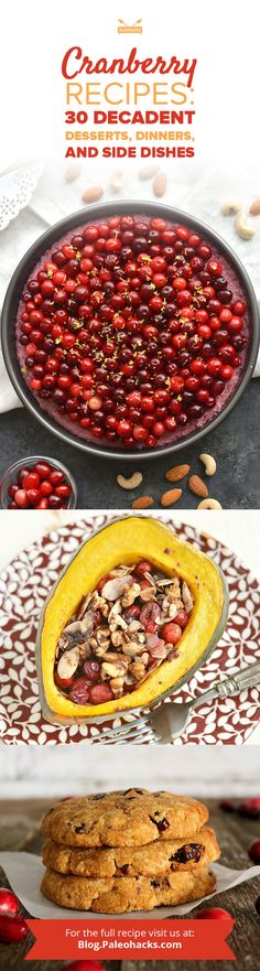 From decadent desserts to savory dishes, we've got the best cranberry recipes filled with nourishing ingredients. Banana Cranberry Bread, Cranberry Recipes, Fruit Recipes, Cookie Recipes, Cranberry Muffins, Sauce Recipes, Paleo Recipes, Lemon Upside Down Cake, Bakken
