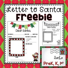 This printable will help your kiddos write a letter to Santa. There is space for a photograph or self portrait, and it comes in black and white and color. This makes a great addition to PreK and Kindergarten memory books, as well as a perfect writing activity or center for December. The teacher can... Writing Activities For Preschoolers, Preschool Projects, Preschool Letters, Free Preschool, Holiday Activities, Classroom Activities, Teaching Ideas, Preschool Christmas, Christmas Themes