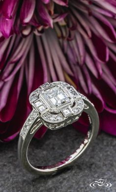 Architectural Art Deco Engagement Ring #GreenLakeJewelry