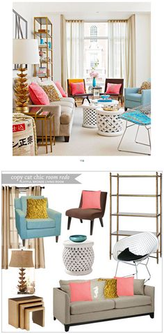 Copy Cat Chic Room Redo | Playful Bronze Living Room | Get the look for only $3,351
