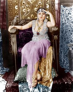 Colorized B pic of silent film star Theda Bara as Cleopatra