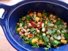 Two Blue Lemons: Chickpea, Watercress & Mango Salad with Lime-Curry Vinaigrette