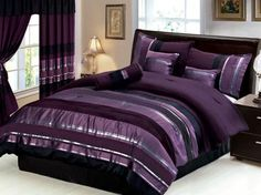 black+silver+purple+bedroom | New 7 PC Queen Size Royal Purple Black Silver Striped Bedding ...