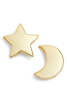 Argento Vivo Moon & Star Stud Earrings Minimalist Earrings, Minimalist Jewelry, Silver Necklaces, Gold Earrings, Moon And Star Earrings, Keep Jewelry, Stars And Moon, Studs, Necklaces