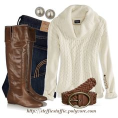 """Pearls, Knee Boots & Cowl Neck Sweater"" by steffiestaffie on Polyvore"
