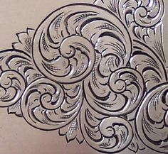 American Scroll Metal Engraving Tools, Engraving Art, Custom Engraving, Wood Carving Patterns, Carving Designs, Gravure Metal, Motif Baroque, Filigree Tattoo, Cowboy Crafts