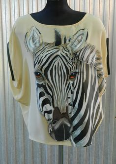 zoo collection - handmade zebra painted on 100% pure silk