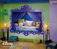 Creative Kids Bedroom Ideas for Maximum Style: Unique Kids Bedroom Ideas With Doll Home Design Used Green Blue Interior Color Decoration And...