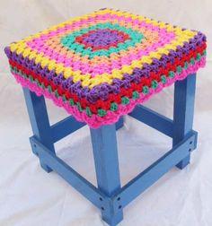 Fundas P/ Banco-banquito Tejida Crochet Ultima Moda - $ 100,00 en MercadoLibre