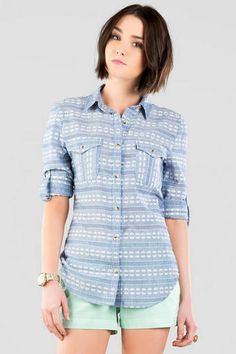 Harper Embroidered Buttoned Blouse