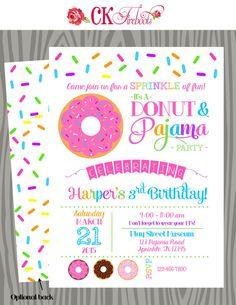 Donuts and Pajamas Sprinkle Fun Birthday Invitation by ckfireboots