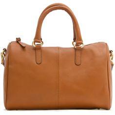 MANGO Leather bowling handbag (3,070 EGP) ❤ liked on Polyvore featuring bags, handbags, purses, carteras, leather, leather handbag purse, leather hand bags, brown purse, real leather purses and brown leather bag