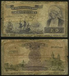 Scarce Netherlands Banknote March 19, 1941 Issue Twenty Gulden Currency Queen Emma Pick Number 55