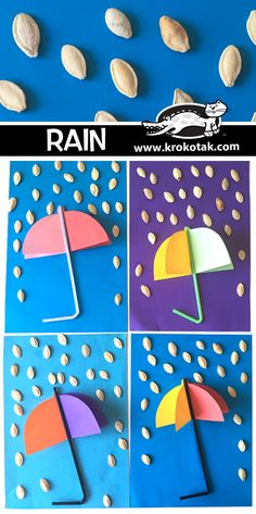 Rain craft for toddlers with pumpkin seeds Rain Crafts, Ghost Crafts, Straw Crafts, Toddler Art, Toddler Crafts, Pumpkin Seed Crafts, Weather Crafts, Halloween Coloring Pages, Crafts For Kids To Make
