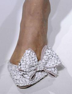 Gorgeous Embellished White Bow Bridal Shoes