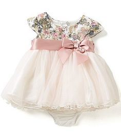 Bonnie Baby Baby Girls Newborn-24 Months Floral Lace Bodice to Tiered Tulle Dress