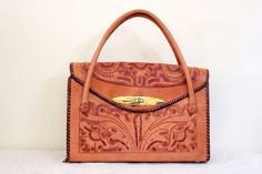 Vintage 1970's Tooled Leather Handbag by illbeyourbird on Etsy