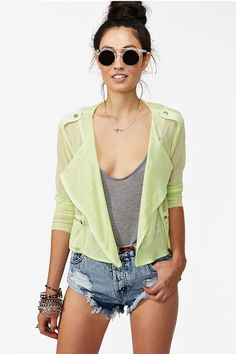 Mesh Moto Jacket~Supremely rad lime mesh moto jacket featuring zip pockets and button tabs at shoulders. Zipped detailing at cuff, mega-stretch fabric. Unlined. Looks awesome tossed over a tank and cutoffs!