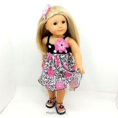 american girl dolls dress and sandals black white by MegOrisDolls