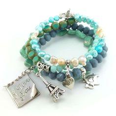 Bransoletki z perłami słodkowodnymi, krysztalkami, i koralikami szklanymi w turkusie, mięcie i szarości. Charmed, Bracelets, Jewelry, Fashion, Bracelet, Bangle Bracelets, Jewellery Making, Moda, Jewerly