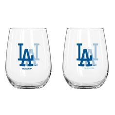 Los Angeles Dodgers 16 Oz. Stemless Wine Glass 2 Pack Set by Boelter. $29.99. End your long day with a glass of wine using Boelter Brands 2-Pack 16-Ounce Stemless Wine Glass. Decorated with color team logo. Officially licensed.