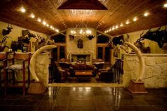 elegant trophy room More Man Cave Living Room, Hunting Cabin, Hunting Rooms, Safari Room, Rustic Room, Rustic Decor, Campaign Furniture, British Colonial Style, Trophy Rooms