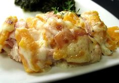"""Cheesy Ham & Sweet Potato Casserole: """"Though this is a different way to eat sweet potatoes, it's now one of my favorites! The flavors are so bold and go really well together! The basil, especially, adds flavor."""" -AustinsAm"""