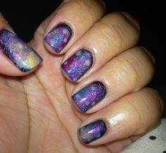 Super easy Galaxy nails using the 'Sponge Method'