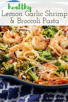 Lemon and Broccoli Pasta with Shrimp - Slender Kitchen. Works for Weight Watchers®️ diet. Lemon and Broccoli Pasta with Shrimp - Slender Kitchen. Works for Weight Watchers®️ diet. Fish Recipes, Seafood Recipes, Cooking Recipes, Healthy Recipes, Seafood Pasta, Healthy Shrimp Pasta, Shrimp With Pasta, Easy Shrimp Pasta Recipes, Pasta Food